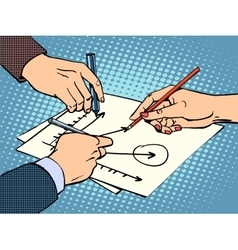 workshop business hands chart success vector image