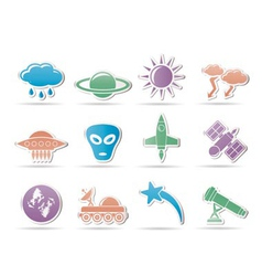Astronautics and space and universe icons vector