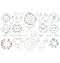 Hand drawn framewreath setcolored doodle decor vector
