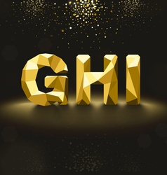 Golden lowpoly font from g to i vector