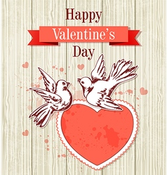 Two doves and red heart vector