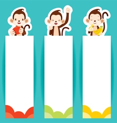 Monkey with banners set vector
