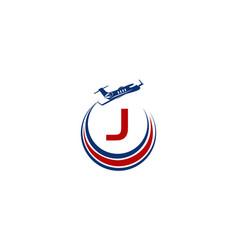 Airplane logo initial j vector
