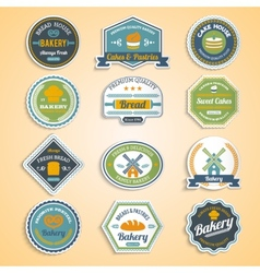 Bakery Stickers Set vector image