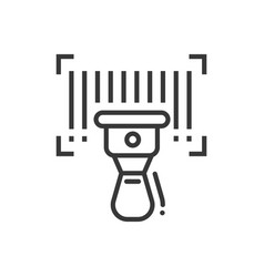 Barcode scanner - line design single isolated icon vector
