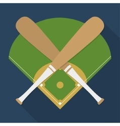Bat and league of baseball sport design vector