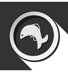 Black and white round - jumping fish dolphin icon vector