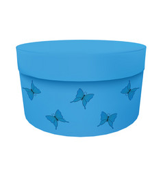 Box decorated with blue ornament with butterflies vector