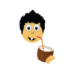 Boy drink coconut milk vector