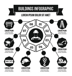 Buildings infographic concept simple style vector