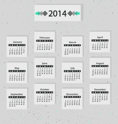 Calendar of 2014 Gray vector image