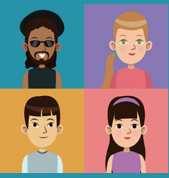 Cartoon community people picture social vector