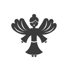 Flat icon in black and white style christmas angel vector
