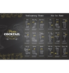 Front Drawing horisontal cocktail menu design vector image vector image