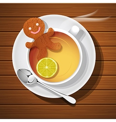 Ginger bread soak in cup of hot lemon tea vector