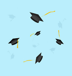 Graduation hats in the air vector