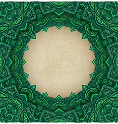 green frame floral ornament old background vector image vector image
