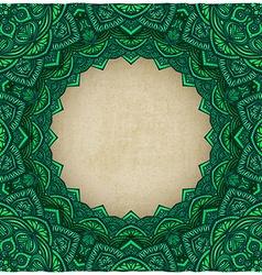 Green frame floral ornament old background vector