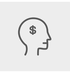 Head with dollar symbol thin line icon vector image