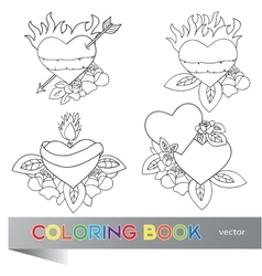 Heart tattoo design - coloring book vector