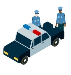 Isometric of two policemen drinking vector
