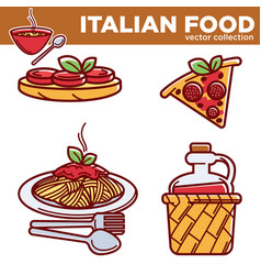 Italian cuisine traditional food dishes food pizza vector