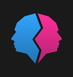 Logo template pink and blue face vector