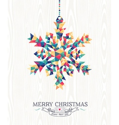 Merry christmas hipster triangle snowflake wood vector image vector image