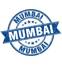 Mumbai blue round grunge vintage ribbon stamp vector