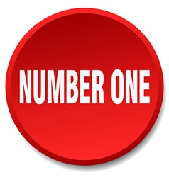 number one red round flat isolated push button vector image