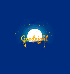 Origami concept goodnight and moon night vector