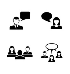 people talking simple related icons vector image vector image