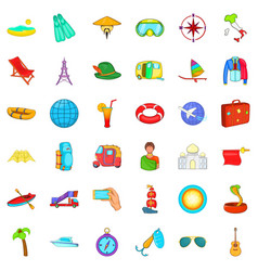 Plane travel icons set cartoon style vector
