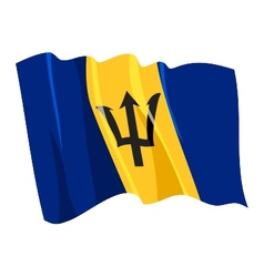 political waving flag of barbados vector image vector image