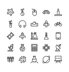 Science and technology line icons 15 vector