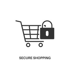 secure shopping icon vector image vector image