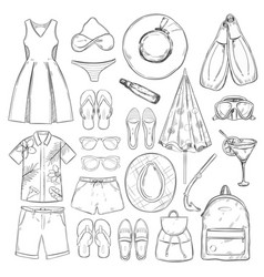 Sketch monochrome summer vacation elements set vector