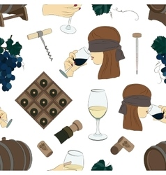 Tasting wine icons pattern vector