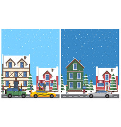 Winter in city placards set vector