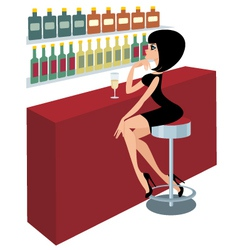 young woman sits at a bar counter vector image vector image