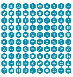 100 human health icons sapphirine violet vector