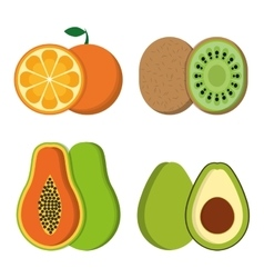 Orange papaya kiwi and avocado design vector