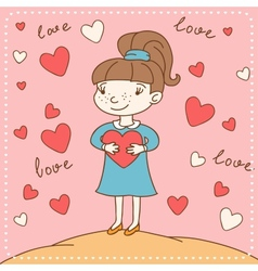 Vintage valentines day card of girl with heart vector
