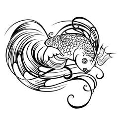 stylized beautiful fish vector image