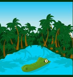 wild crocodile in river in the jungle vector image