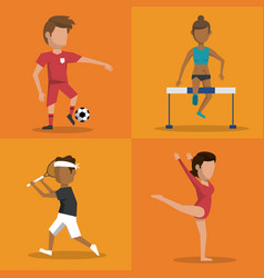 Multicolored square buttons set of athletes of vector