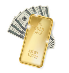 gold bar and dollars on white background for vector image