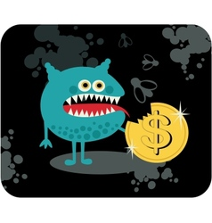 Cute monster with dollar coin vector image