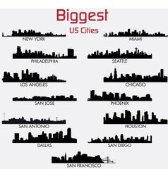 Set of biggest american cities skylines vector