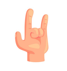 rock and roll hand gesture cartoon vector image